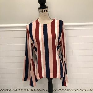 BCBG blouse with large bell sleeves
